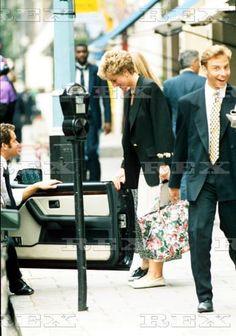 September 14, 1994:  Princess Diana and Paul Burrell outside Daniel Galvins…