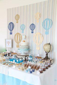 Hot Air Balloon themed birthday party with So Many Cute Ideas via Kara's Party Ideas