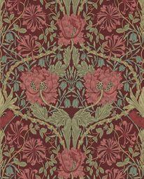 Honeysuckle & Tulip Burgundy/Sage från William Morris & Co