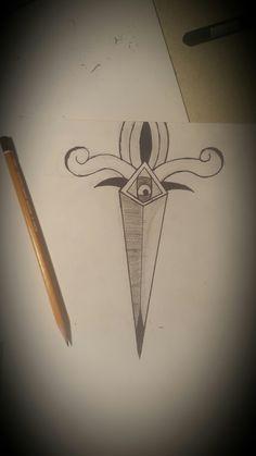 dagger tattoo black white awsome design