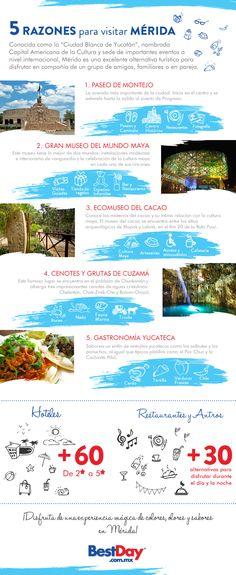 Si eres un amante de las tradiciones y cultura de tu país, Mérida es una de las ciudades que tienes que conocer. Éste destino cuenta con hermosos paisajes, maravillas naturales y los platillos más deliciosos de la República Mexicana, en esta infografía te damos más razones para visitarlo #OjaláEstuvierasAquí