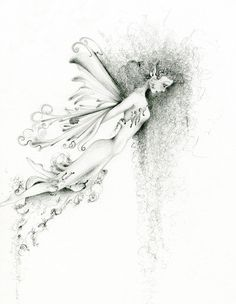 "Fairy Art OOAK Pencil Drawing Orginal Fantasy Drawing ""Let Go"" Faery Pencil Drawing Black and White Fine Art"