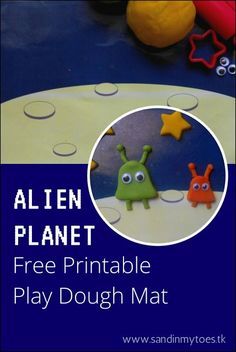 A free printable play dough mat to make an alien planet scene. Very cute rainy day activity for kids!