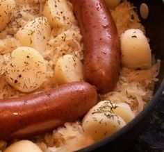 """Dogs, Kraut & Taters: """"This is so INEXPENSIVE and is on the table in 10 minutes flat. I made this frequently in college when on a tight budget."""" -JanuaryBride"""