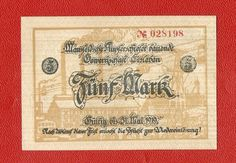 Germany 5 mark mk 1919 banknote notgeld antique ungultig w stamp