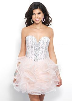 Lovely Ruffled Structured Bodice Lace Up Back Ballet Pink Prom Dress