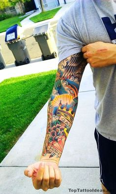 Tattoo picture of Classy Inked Colourful Arm Tattoo Idea is one of many tattoo ideas listed in the Other Tattoos category. Hand Tattoos, Tattoo Henna, Top Tattoos, Body Art Tattoos, Tattoo Arm, Life Tattoos, Black Tattoos, Old School Tattoo Sleeve, Tattoo Sleeve Filler