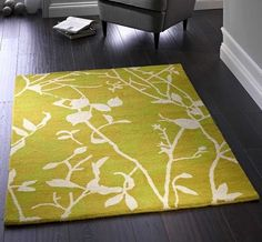 Silhouette Leaf - Chartreuse Rugs | Modern Rugs