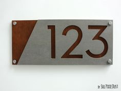 Modern House Numbers, Concrete & Marine Plywood - Sign Plaque - Home Address #Handmade #Modern