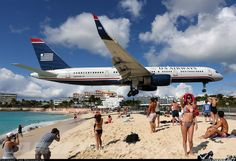 St. Maarten, the planes fly right over the beach!