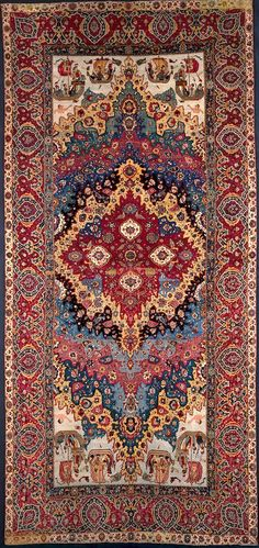 Persian Khorasan rug, wool on cotton, Savafid, 680 cm x 313 cm, early 17th c, Applied Arts Museum of Vienna (MAK)
