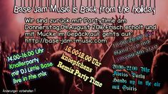 Endlich sind wir zurück,frisch erholt aus dem Sommerurlaub und mit jeder Menge Party im Gepäck nur für Euch,einschalten ,abfeiern,Spass haben am Donnerstag 04.August auf http://base-jam-music.com Dein Sender für Musicpower