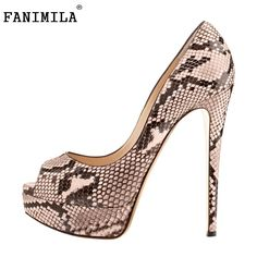 49.97$  Buy here - http://alilgb.worldwells.pw/go.php?t=32697377683 - New Fashion Women Pumps Snake Sexy Open Peep Toe Shoes Ladies Platform Thin Heel Shoes Woman Size 35-46 B078 49.97$