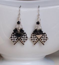 Nascar Checkered Flag Charm Crystal Bling Earrings