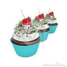 3d sweet cupcakes with sprinkles  on white background