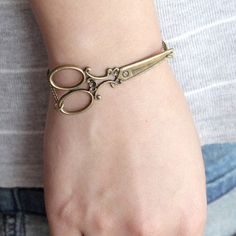 Great for a hair stylist or seamtress!  antique brass victorian scissors bracelet $7