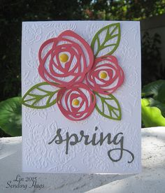 Bold Blooms: Essentials by Ellen, Sending Hugs.) Substitute Swirly Scribbles/ leaves from Rose Garden dies). Pretty Cards, Cute Cards, Up Book, Embossed Cards, Stamping Up Cards, Bird Cards, Flower Cards, Creative Cards, Greeting Cards Handmade