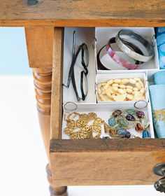 Use Jewelry Boxes    Those little boxes are so sturdy and trim that you hate to throw them out. So don't. Instead, clip them together to create tidy divided storage for pens and pencils, lipsticks, plastic flatware, whatever it is that clutters your drawer (maybe jewelry?).
