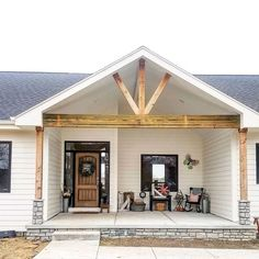 modern farmhouse in 2019 дом, крыльцо, игровые Farmhouse Front Porches, Rustic Farmhouse, Farmhouse Style, Rustic Homes, Front Porch Remodel, Veranda Design, Porch Kits, Porch Ideas, Front Porch Design