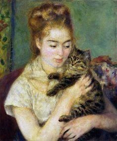 Pierre Auguste Renoir    Kadın ve Kedi / Woman with a Cat    1875. Tuval üzerine yağlıboya. 57 x 46.4 cm. National Gallery of Art, Bay ve Bayan Benjamin E. Levy'nin armağanı, Washington D.C.