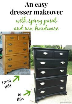 What A Fun Diy Dresser Makeover With Spray Paint And New Hardware I Can T Believe The Transformation Green Decor