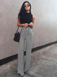 Image shared by just trendy girls. find images and videos about striped palazzo pants, fashion and outfit on we heart it - the app to get lost in what you Fashion 2018, Look Fashion, Fashion Beauty, Fashion Outfits, Womens Fashion, Fashion Trends, 90s Fashion, Party Fashion, Fashion Pants