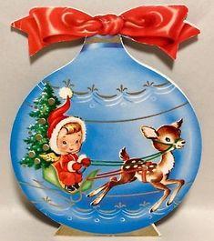 Darling Little Angel Red Snow Suit Reindeer 50's Vintage Christmas Greeting Card