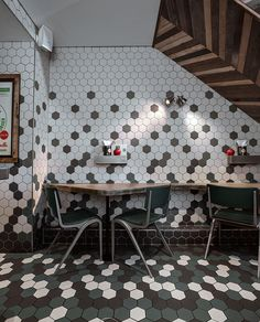 Awesome mix of white, green and black hexagon shaped tiles at GBK restaurant.