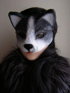 Masquerade mask Paper mache mask Cat mask Black cat by EpicFantasy