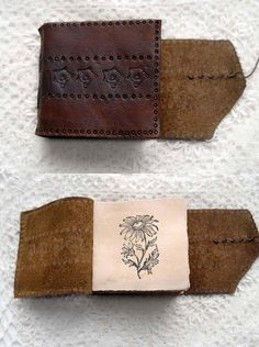 The Daisy Doodler - Handbound Miniature Journal, Reclaimed Leather, Dark Brown, Hand Embossed, Tea Stained Eco Pages - OOAK