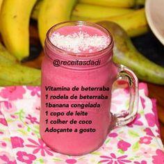 receitasdadiVitamina de beterraba e banana  Vitaminas/Shakes Fun Drinks, Healthy Drinks, Healthy Tips, Healthy Recipes, Smoothies Detox, Green Smoothie Recipes, Cooking Tips, Cooking Recipes, Dietas Detox