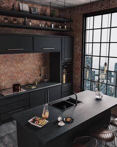 Minimal Interior Design Inspiration - Design Tips Kitchen Room Design, Best Kitchen Designs, Home Room Design, Dream Home Design, Modern Kitchen Design, Modern House Design, Interior Design Kitchen, Loft Kitchen, Kitchen Small