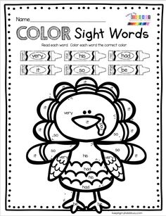 TURKEY SIGHT WORDS – read and color the high frequency words – kindergarten and first grade literacy centers and guided reading activities for November and… Thanksgiving Activities For Kindergarten, Thanksgiving Worksheets, 1st Grade Activities, Thanksgiving Math, First Grade Worksheets, Kindergarten Writing, Free Worksheets, Reading Activities, Guided Reading