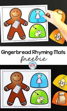 Gingerbread Rhyming Mats - A Dab of Glue Will Do Use this Gingerbread Rhyming Mats Activity to help our preschool and kindergarten students build their phonological awareness in a hands-on way. Phonological Awareness Activities, Rhyming Activities, Pre K Activities, Winter Activities, Enrichment Activities, Kindergarten Themes, Kindergarten Activities, Classroom Activities, Classroom Ideas
