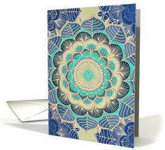 Floral zentangle doodle flower in navy, mint green, gold, blank card. card