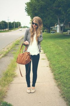 casual outfit zipped gray blazer, white blouse,and dark pants