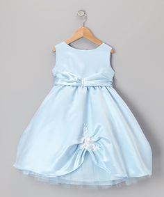 Light Blue Pick-Up Flower Dress - Toddler & Girls by Lida
