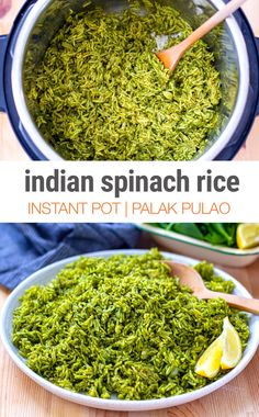This Instant Pot Spinach Rice (also known in Indian cuisine as Palak Pulao) is a nutritious and healthy dish that […] Vegetarian Rice Dishes, Healthy Dishes, Healthy Recipes, Healthy Indian Foods, Healthy Indian Recipes Vegetarian, Healthy Rice Recipes, Indian Side Dishes, Rice Side Dishes, Indian Vegetable Side Dish