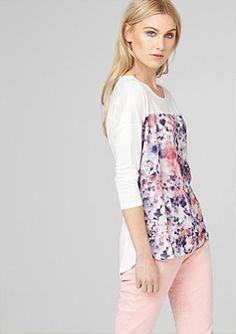 Top with a blouse-style front and 3/4-length sleeves in the s.Oliver Online Shop