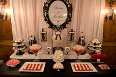 Black, red and white candy station Candy Table, Candy Buffet, Dessert Table, 75th Birthday Parties, Birthday Party Treats, Wedding Candy, Wedding Desserts, Damask Party, Knight Party