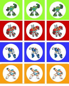 FREE RESCUE BOTS CUP CAKE TOPPERS. *page 1* I made these rescue bots pictures in 8x10 form so you can print them out at a store and then just cut them out. If you want to thank me for this freebie, go like my photography page at www.facebook.com/melissacphotography