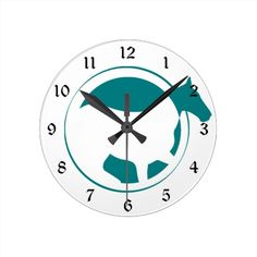 Modern Teal Horse Circle Logo Clock by Westerngirl2