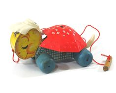 Fisher Price Turtle Sleepy Sue Vintage Pull Toy by VintageToyTown