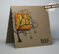 Love the simplicity of this card - single layer kraft base, with a gorgeous tree from the Frightful stamp set with spiders dripping off of it.  A tiny rhinestone blings out each spider. DIY Halloween card.