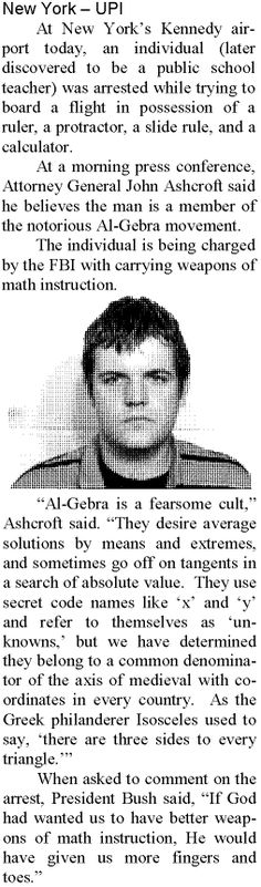 The Notorious Al-Gebra wanted for acts of math destruction. Math Teacher Humor, Math Puns, Math Humor, Nerd Humor, Science Humor, Physics Humor, Teaching Humor, Science Fun, Teacher Stuff