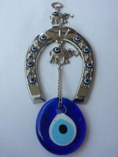 wall hanginglucky evile eye nazar bead by EvilEyeAndPeshtemal, $14.00 Greek Evil Eye, Hamsa, Washer Necklace, Eyes, Unique Jewelry, Handmade Gifts, Goodies, Bead, Wall