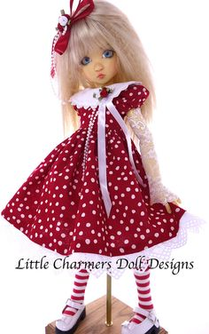 Dress fits Kaye Wiggs, MSD, BJD.  Little Charmers Doll Designs #LittleCharmersDollDesigns #KayeWiggsMSDBJD
