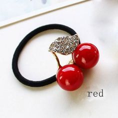 Hot Sale Red White Simulated Pearl Crystal Leaf Cherry Rubber Band Elastic Hair Bands Girls Hair Accessories for Women Headwear