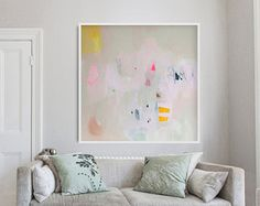 """large cream ABSTRACT GICLÉE PRINT of painting with yellow and pink """"Desert Dreamer 5"""""""