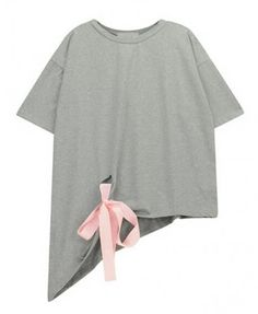 Asymmetric T-shirt with Contrast Ribbon
